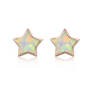 S925 Silver Pentagram Opal Rose Gold Stud Earring For Women Korean Beauty Fashion Anti-allergy Jewelry Family Birthday Gift Cocktail Party