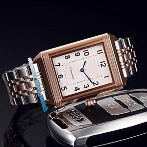 4 Estilo de alta qualidade REVERSO Q2608412 Branco Dial Designer relógios Rosa de Ouro Caso mecânico automático Movimento Mens Watch 316L Steel Band