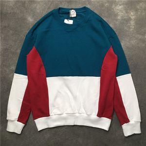 Mens Hoodies Blau Rot Color Matching-Kontrast-Farben Retro-Baumwollstrickjacke Hoodies beiläufige Sweatshirts Pullover S-XXL