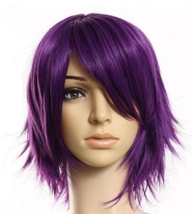 ePacket free shipping >Fashion Lady Short Purple Straight Wig New Cosplay Party Men's Women Full Wigs