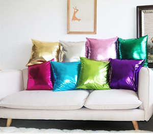 Solid Imitate PU Pillow Case Home Sofa Glitter Throw Pillows Imitate PU Cushion Cover Home Car Bed Decor Retro Pillow Covers