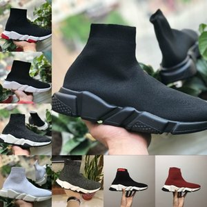 Balenciaga maille noir black white red socks Schuhe sneaker Oreo Triple Nero Bianco Rosso Flat Fashion Socks Boot Design Uomo Donna Walking Sneakers casual