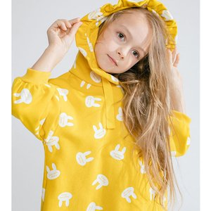 Los niños del diseñador vestido de las muchachas Marca suéter-vestido de los niños historieta impresa con capucha Vestido Niña linda Conejo Imprimir vestidos al por mayor de la falda