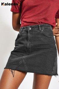 KALENMOS денима джинсы Женщины Мини юбка Stretch Тощий кисточкой Bodycon Тонкий Party Club Streetwear высокой талией Sexy карандаш Юбки