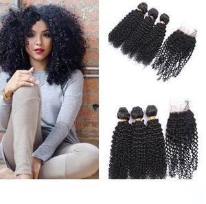 Virgin Human Hair Extensions brésilienne Kinky bouclés Cheveux avec fermeture bon marché péruvien cheveux Prix de gros TRAMES