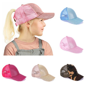 Enfants Ponytail Baseball Cap Glitter Ponytail Messy Buns Mesh respirant Trucker Caps poney enfants Chapeau de soleil en plein air HHA1421