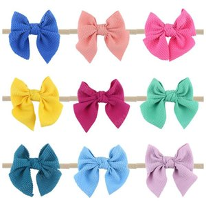 Baby Bows Hairband 25 Colors Big Bow Solid Color Headbands Bohemian Infant Girls Elastic Hairbands Toddler Baby Scrunchie