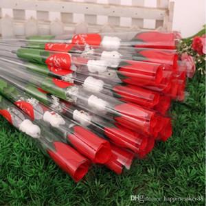 Моделирование цветок розы Одиночные красные розы мультфильм медведь с сердцевидным наклейки Валентина День подарков Матери День подарков свадьбы