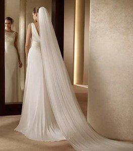 간단한 순수 Tulle Bridal Veils Long Custom은 중국에서 만든 저렴한 흰색 아이보리 네트 웨딩 베일을 저렴한 이슬람 베일 AL2416에서 만들었습니다.