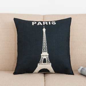 Vintage París torre eiffel almohada funda de cojín funda de almohada decoración del hogar silla decoración para la decoración del hogar sofá decoración WX9-1284