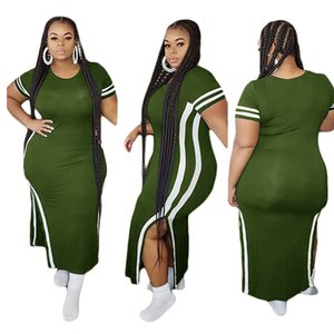 Plus Size L-4XL Summer Female Designer Dresses Solid Color Striped Printed Split Style Dresses Casual Womens Clothing