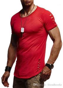 Sleeved Tees Mens Hole Skinny Tops O Neck Male Clothing Sports Mens Tshirts Summer Fashion Short