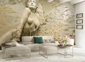 Online Toptan Duvar Kağıdı 3D Duvar Kağıdı Ev Dekor Özel Avrupa altın 3D kabartmalı sahil seksi güzellik arka plan duvar boyama güzel