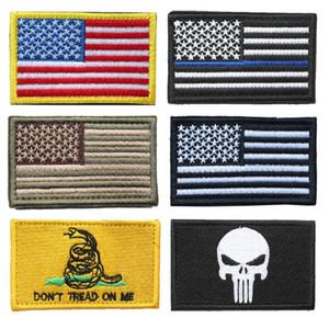 Патчи с флагом США Bundle 100 штук Американский тонкая голубая линия Полицейский флаг Не наступай на меня череп Вышитый патч знак морали