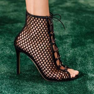 الشحن مجانا 2019 السيدات الغنم أصابع مفتوحة زقزقة اصبع القدم الدانتيل متابعة أحذية الزفاف 9 سنتيمتر السوبر عالية الكعب الجوف خارج الصنادل الأحذية حذاء أسود 35-42