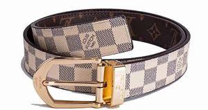 2020 new fashion decorative lv belt bin buckel retro plaid leather belt men and women's leather belt