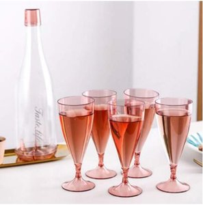 6Pcs set Red Wine Glasses Champagne Cup Transparent Plastic Cocktail Goblet Champagne Wine Cup For Wedding Parties