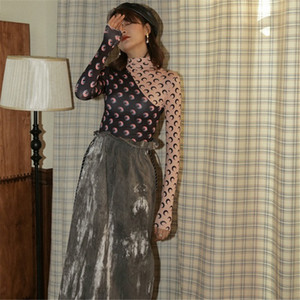 CBAFU Print Designer luna donne camicie patchwork dolcevita top lungo manica signore camicette abiti pista biancheria intima P847