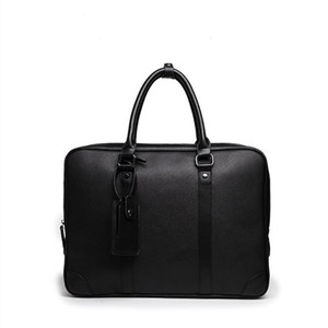 Neue heiße Verkaufs-Marken-Entwerfer-Männer Schulter-Aktenkoffer aus schwarzem Leder Designer-Handtaschen-Geschäftsmann-Laptop-Tasche Messenger Bag bolsa maleta