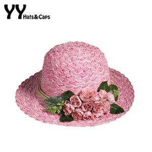 Casual Summer alta calidad Sombrero de paja para las mujeres Tea Party Hat Señoras Flores de encaje Playa Gorras Visera Sombrero Trilby YY60166