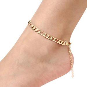 Vintage Golden Width Cuban Link Chain Foot Jewellery for Women Men Anklet Bracelet Fashion Beach Accessories Jewelry 2020