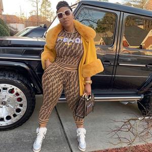 Gratuit Bateau 2019 Femmes Mode Lettre Imprimer Survêtement Casual O-Neck Sweat + pantalon deux pièces Set Lady Tenues 3XL plus
