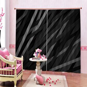 أسود رمادي الهندسية شريط 3D الستائر لغرفة نوم وغرفة معيشة تعتيم ستارة النافذة ستائر المنزل مجموعات (اليسار واليمين الجانب)