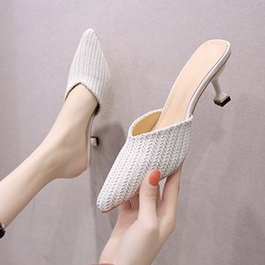 2020 New Slippers Women Shoes Cover Pointed Toe Sexy Ladies Shoes Woman Slippers Solid Leather Thin High Heels Casual
