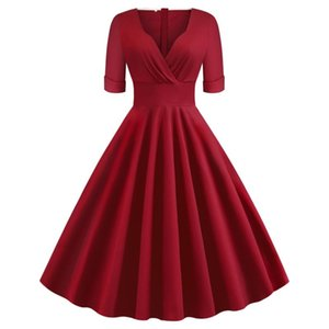 50s 60s Retro Vintage Dress VD1261 Women Short Sleeve V Neck Elegant Cotton Rockabilly Dress Ladies Elegant Clothing