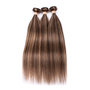 Piano Color Indian Human Pein Bundles Sedky Recto # 4/27 Marrón Highlight Mezclado con miel Rubio Piano Color Humano Hair Trowt Extensions
