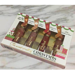 크리스마스 취급 액체 4 색 입술 광택 설정 녹은 매트 메이크업 화장품의 크리스마스 페이스 4 개 립스틱 달콤한 냄새
