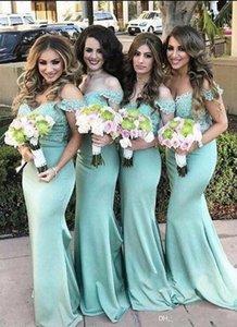 Милая шеи атласная Русалка Длинные платья невесты развертки поезд вечерние платья Vestidos De Dama De Honor