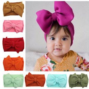 Kinder-Baby Bowknot Weit elastisches Stirnband Solid Color-Haar-Band Wraps IN neugeborenen Haarband-Kopf-Verpackungs-Haare Accesseries D61005