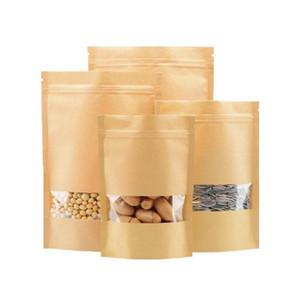 Bolsas de almacenamiento de barrera de humedad de alimentos Bolsa de sellado de embalaje Ziplock Papel Kraft marrón con ventana transparente Bolsa Oragan para galletas de aperitivos Nueces