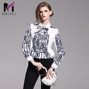 Pista Merchall de alta calidad de la blusa del diseñador de las mujeres gira el collar abajo elegantes camisas Carta lazo de la impresión de la blusa señoras de la oficina
