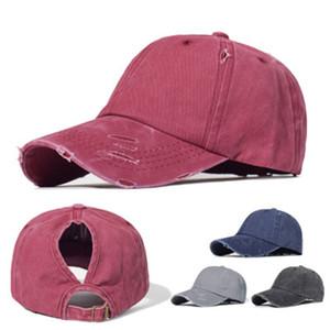 4 Farben Pferdeschwanz Baseballmütze Baumwolle Waschbar Cap Pure Color Außensonnenschutz im Freien Fischen Fischer Hat IIA196