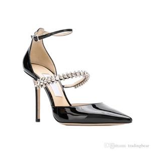 Zapatos de boda de ensueño Patente Iinen de piel puntiagudo Bombas con Crystal Correa diseñador de la alta vestido de los talones Zapatos Tamaño 34 a 40