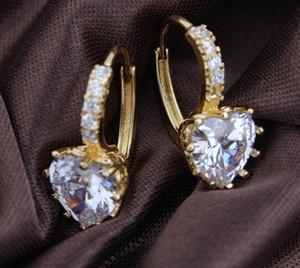 Brincos de Rhinestone Imitação Bridal Brincos de Ouro Requintado Jóias Gemstone Austríaca Brincos de Cristal