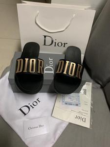 De nouvelles dames de la marque de mode sandales design classique pantoufles occasionnels diamant couleur argent doré avec boîte Livraison gratuite