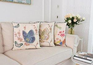 Farfalla Ricamo Cuscino Country Style Floral Butterfly Ricamo Coussin Sofa Room Decoration Decorative Cuscino 45 * 45 cm