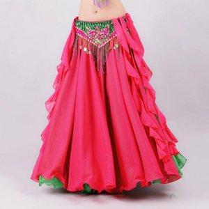 Double Colors Women Belly Dancing Clothes Full Circle Maxi Skirt Side Split Long Skirt belly dance White dresses clothes
