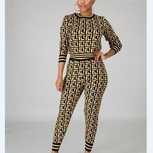 New style fashion print lady set o-neck pullovers and pencil pants 2 piece set fashion casual sports suit