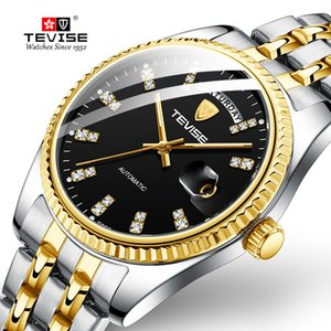 Tevise Men Luxury Golden Automatic Mechanical Watch Men Stainless steel Date Business Wristwatch Relogio Masculino