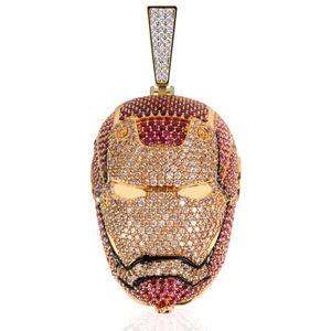 Diseño de plata plateado nuevo hombre del hierro hacia fuera helado colgante collar de oro de los vengadores de la cadena para hombre del regalo Idea joyería de Bling