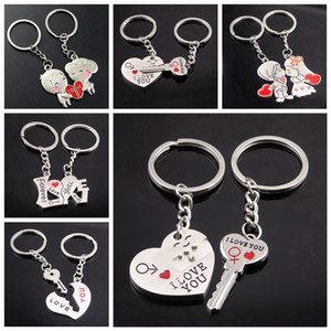 Metallo amante creativo anello chiave di Keychain Ti amo Cuore auto romantico San Valentino dono Coppia I Love You chiave della catena favore LJJA3713-22