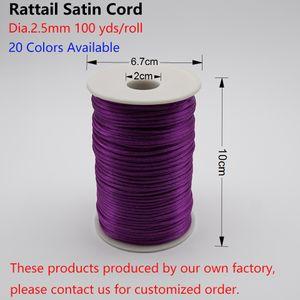 2,5 mm Rattail-Schnur, 100 Yards / Rolle, 20 Farben, Shamballa-Makramee-Schnur, Armbandschnur zum Bördeln, chinesische Knotschnur HK049