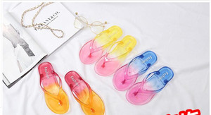 Crystal transparent student flat heel flip flop Beach Sandal