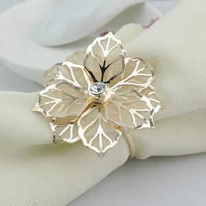 Gold Metal Flower portatovaglioli per il supporto di festa di nozze Banchetto tovagliolo West Restaurant tovagliolo metallo portatovagliolo Tabella accessori della decorazione