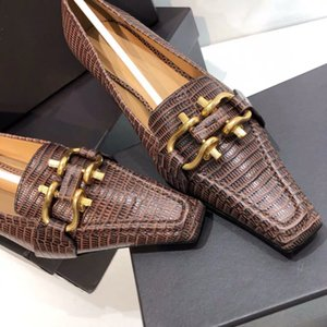 2019120501 40 41 brown white black buckles kitten heels working shoes ladies fashion pointed 4cm lizard print