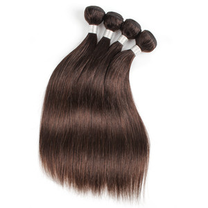 Venta al por mayor brasileña recta Extensiones de la armadura del pelo humano # 2 de ondas de oro de Brown oscuro del cuerpo 10 PCS 12-24 pulgadas extensiones de pelo humano de Remy
